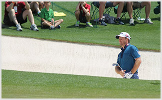 Graeme McDowell practices from the bunker